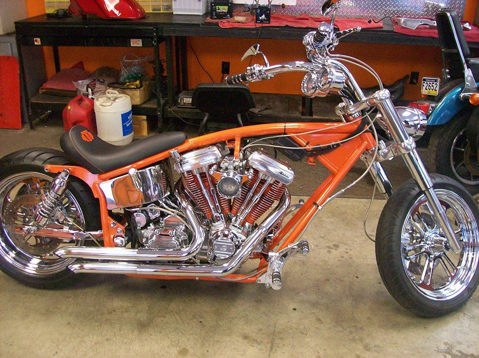 orange-bike-during